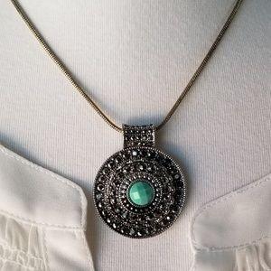 Trifari Necklace Pendant Green
